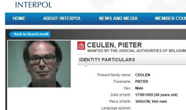 Pieter Ceulen Interpol page
