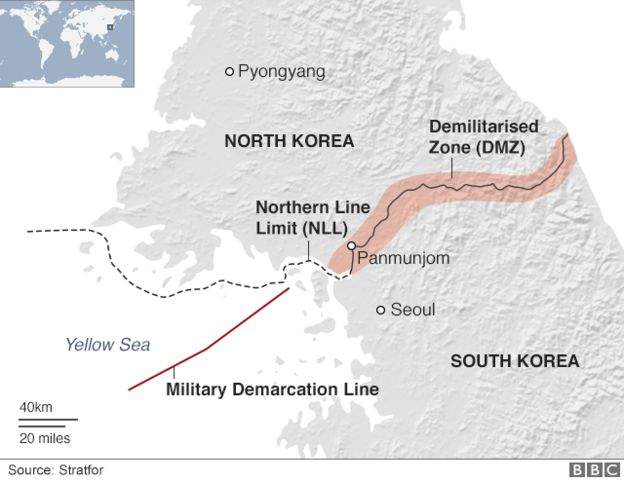 A map showing North and South Korea