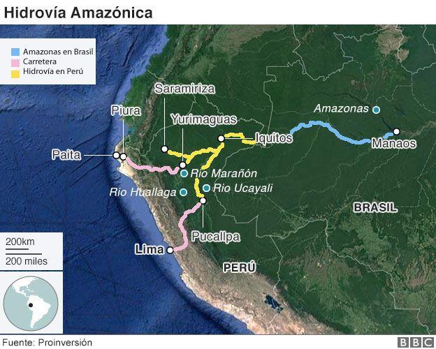 Mapa de la hidrovía