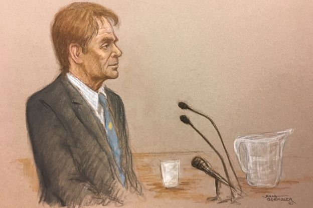 Sir Cliff Richard giving evidence at the High Court on 13 April 2018