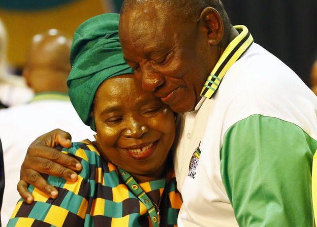 Cyril Ramaphosa hugs Nkosazana Dlamini-Zuma