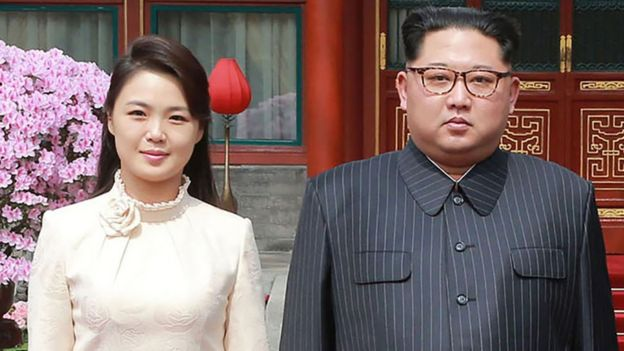 Kim Jon-un and his wife in Beijing.