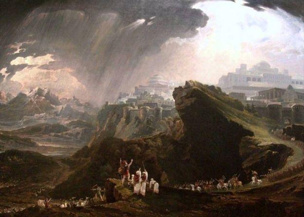 Josué ordena que o Sol se detenha em pintura do artista britânico John Martin