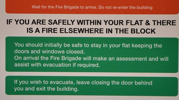 A fire action sign from a block near Grenfell Tower