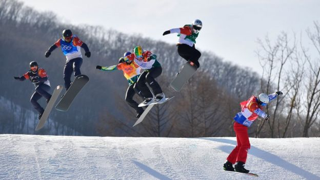 Competitors in the final of snowboard cross