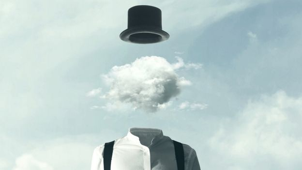 Person with cloud brain