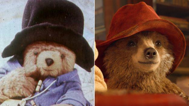 Two versions of Paddington the Bear