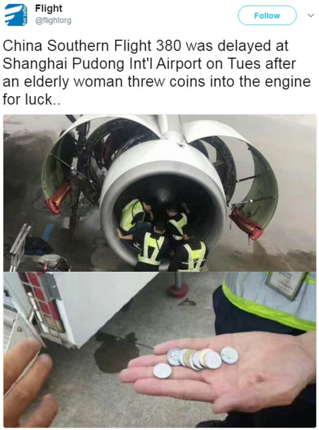A tweet showing security personnel checking the engine of a China Southern Airlines flight for coins