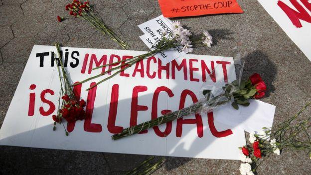 Pro-Rousseff demonstrators in New York