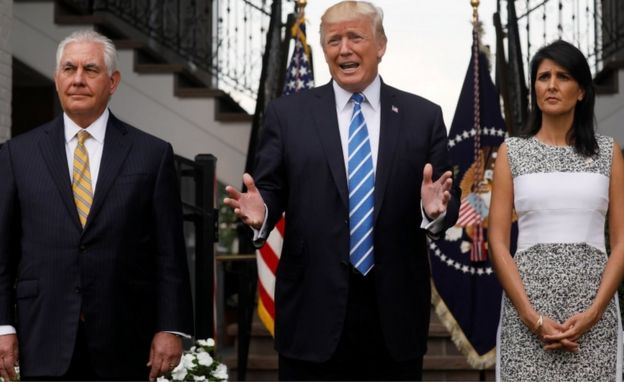 President Trump was flanked by Secretary of State Rex Tillerson and US Ambassador to the United Nations Nikki Haley at his golf estate in Bedminster, New Jersey