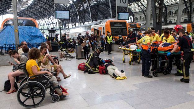 Barcelona Train Crash - 54 Injured