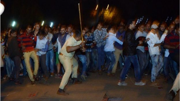 Police beat back crowds in Bangalore on New Year's eve