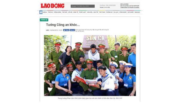 """Bài viết hồi 2015 của báo Lao Động viết ông Vĩnh là """"một vị tướng tài ba giàu tình cảm"""""""