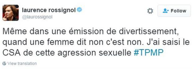 Tuíte da ministra Laurence Rossignol