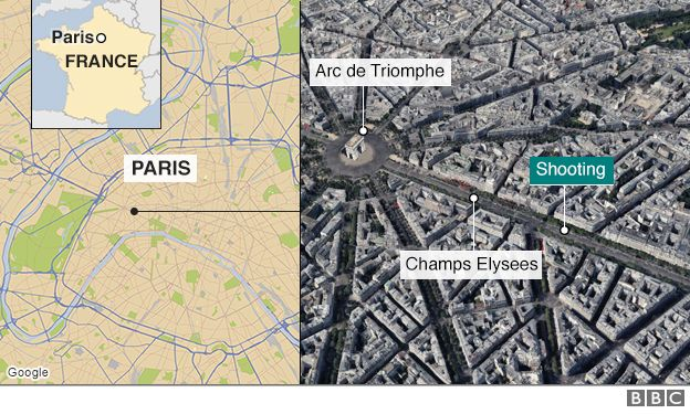 Map of attack location on Champs Elysees