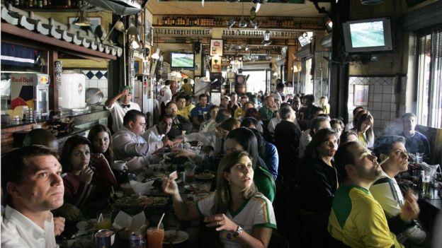 Bar in Sao Paulo during a soccer world cup match