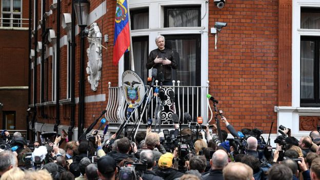 Julian Assange speaks to reporters at the Ecuadorean embassy - 19 May