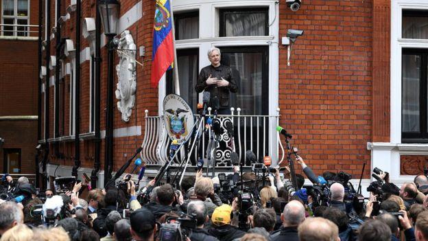 Julian Assange speaks to reporters at the Ecuadorean embassy - 19 May