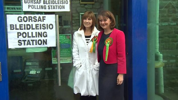 Leanne Wood (right) goes to vote in Penygraig, Tonypandy, Rhondda