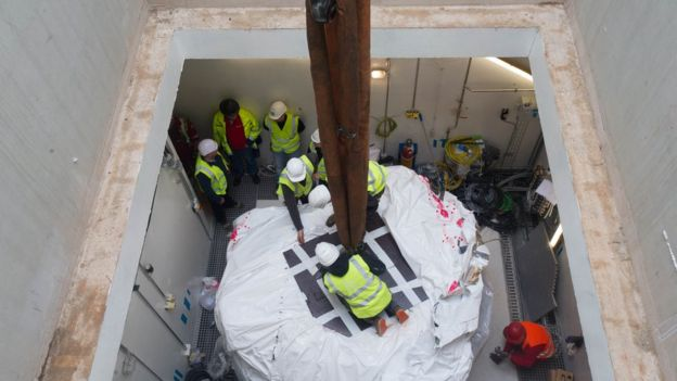 The cyclotron accelerator is fitted