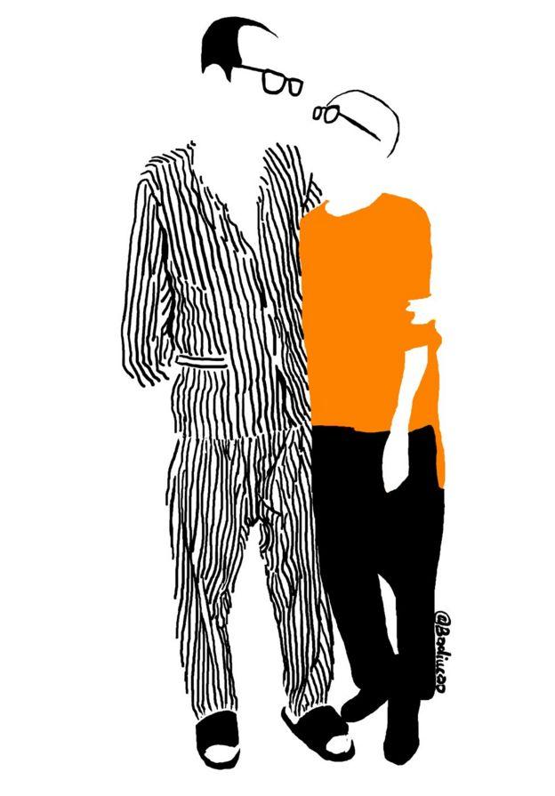 Phác họa vẽ ông Lưu Hiểu Ba và bà Lưu Hà