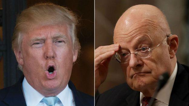 Donald Trump alikutana na maafisa wakuu wa ujasusi akiwemo jenerali James Clapper (kulia)