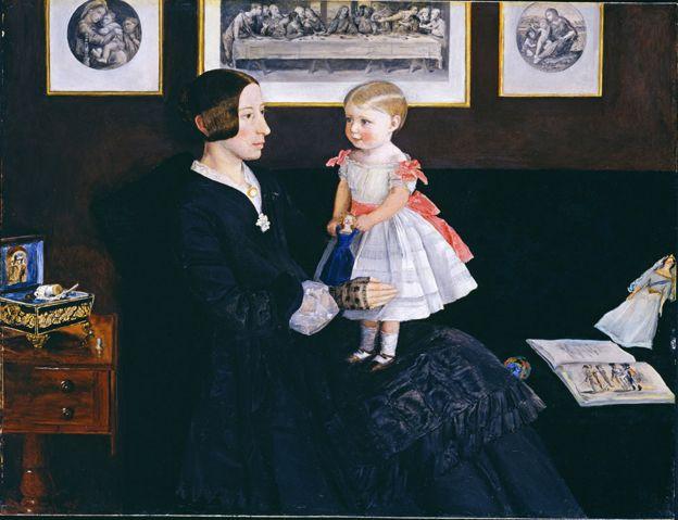 "John Everett Millais ""Sra. James Wyatt Jr y su hija Sarah"" 1850, óleo en caoba, 35,3 x 45,7 cm. © Tate, London"