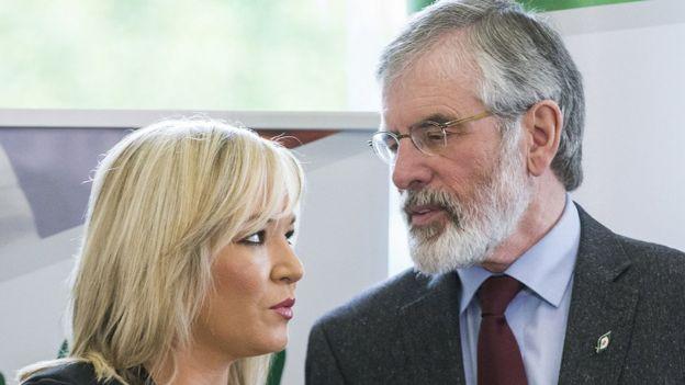Sinn Fein Genel Başkanı Gerry Adams ve Sinn Fein'in Kuzey İrlanda'daki lideri Michelle O'Neill