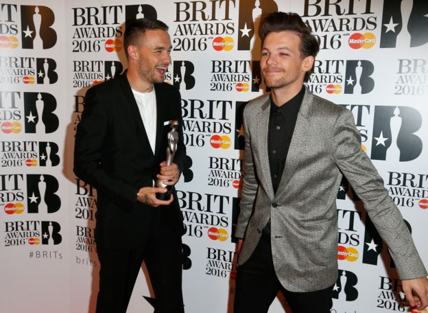 Liam Payne and Louis Tomlinson at the 2016 Brit Awards