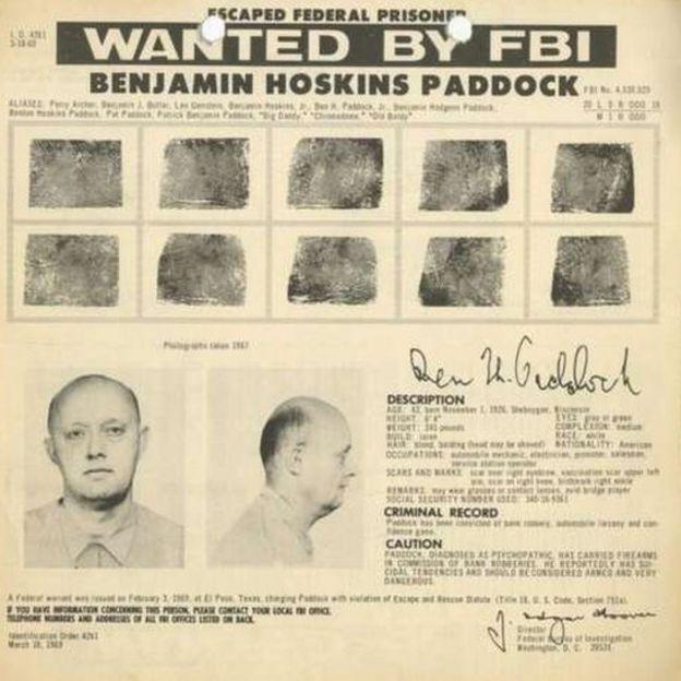 Ficha de Benjamim Paddock no FBI