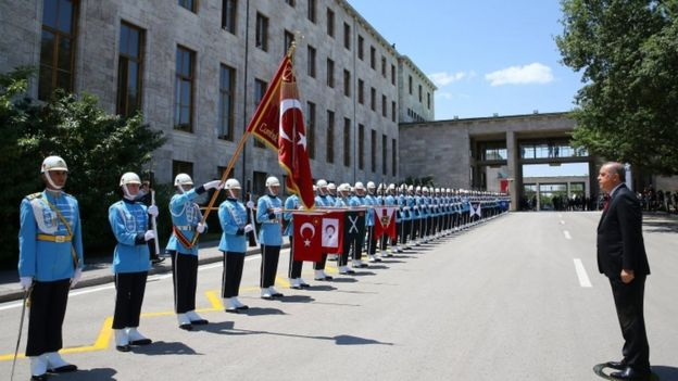 President Erdogan inspects the honour guard as he arrives for a special session of parliament in Ankara