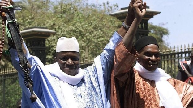 Abdoulaye Wade (r), and Yahya Jammeh in 2002