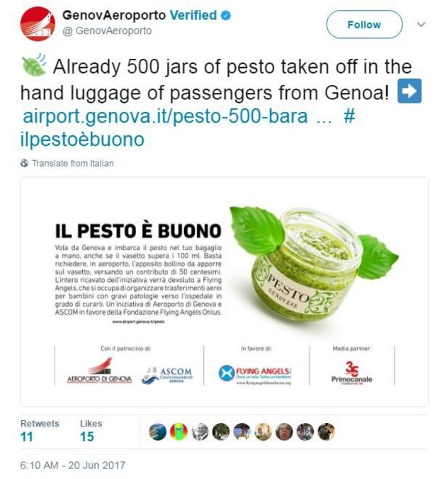 Genoa airport tweeted in Italian: