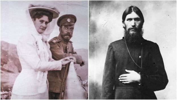 Picture shows the Tsarina and Tsar standing together on the left, and a still of Rasputin on the right.