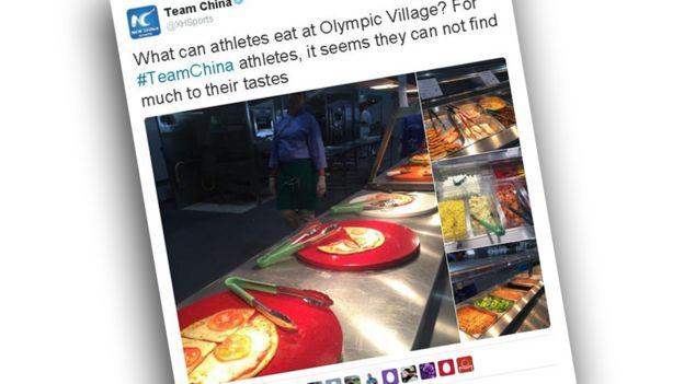 Tuíte da Xinhua sobre cantina olímpica