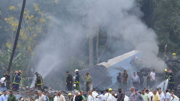 "The site of the accident after a Cubana de Aviacion aircraft crashed after taking off from Havana""s Jose Marti airport on May 18 2018"
