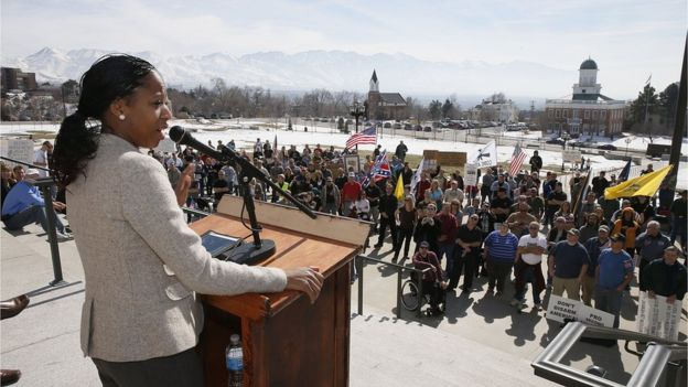 Mia Love, speak at a gun rights rally and march at the Utah State Capitol on March 2, 2013 in Salt Lake City
