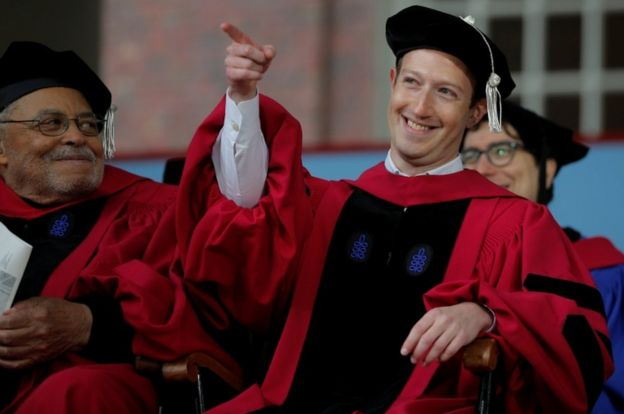 Zuckerberg, seated beside actor James Earl Jones, received an honourary Doctor of Laws degree