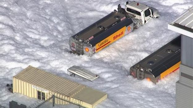 Foam flooded several streets around an airport hanger in San Jose, California on November 18, 2016.