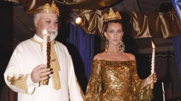 inger Celine Dion and husband-manager Rene Angelil renew their wedding vows during a ceremony at Caesars Palace Casino and Hotel in Las Vegas Wednesday, Jan. 5, 2000