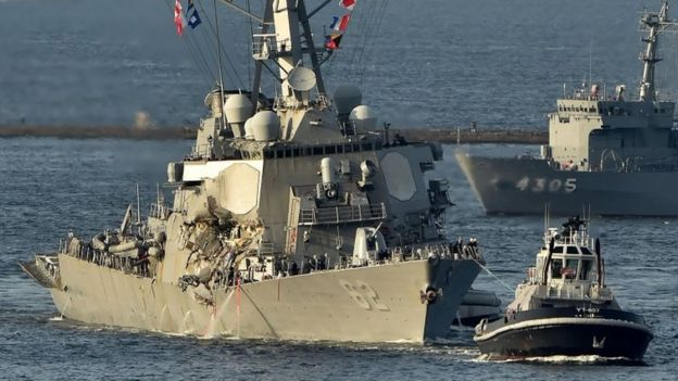 US Navy guided missile destroyer USS Fitzgerald arrves at its mother port US Naval Yokosuka Base, Kanagawa prefecture on 17 June 2017.