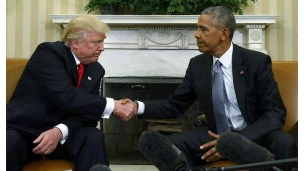 Obama na Trump wakisalimiana