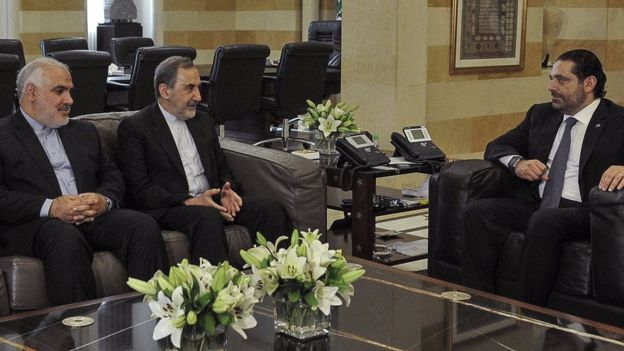 Former Lebanese Prime Minister Saad Hariri (R) meets Iranian adviser Ali Akbar Velayati (C) and Iranian ambassador Mohammad Fathali (L) in Beirut on 3 November 2017