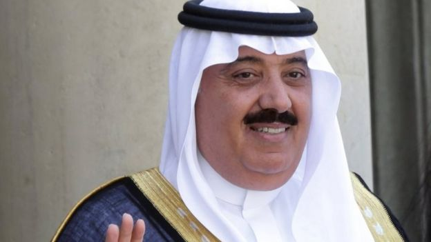 File photo showing Saudi Prince Miteb bin Abdullah at the Elysee Palace in Paris, France (18 June 2014)