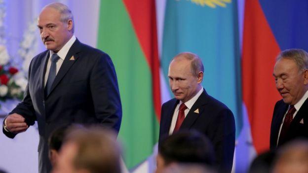Александр Лукашенко Владимир Путин и Нурсултан Назарбаев