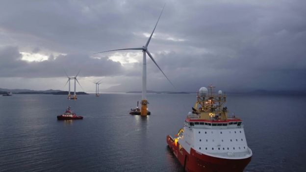 Turbine Installation Begins for the World's First Floating Wind Farm
