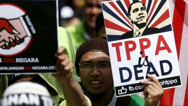 A protest in Malaysia against a free trade deal