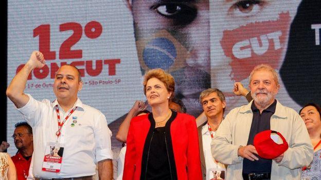 Dilma e Lula em Congresso da CUT