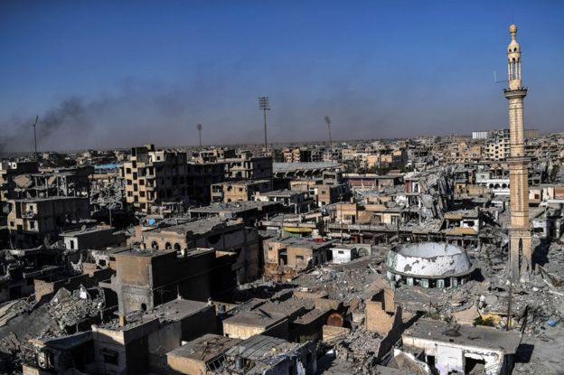 Area surrounding municipal stadium in Syrian city of Raqqa on 16 October 2017