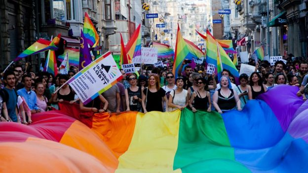 Gay and human rights activists march in Istanbul on 23 June 2013
